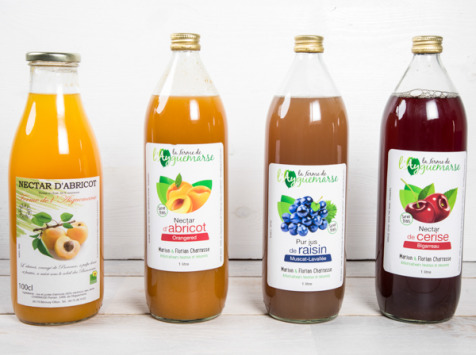La Ferme de l'Ayguemarse - Panier Jus de fruits frais de la ferme : cerise, raisin, abricot