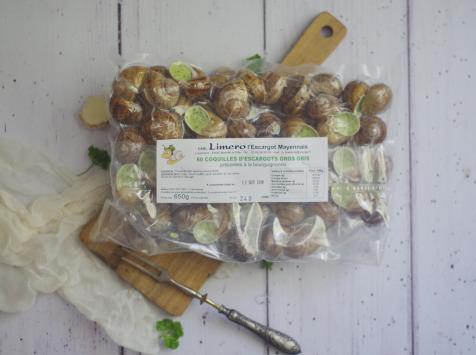 Limero l'Escargot Mayennais - Coquilles D'escargots Gros Gris FRAIS À La Bourguignonne - Lot De 4 X 60
