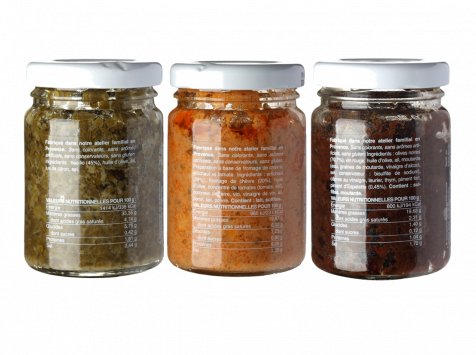 Les Niçois - Triplette Les Gourmands : Pesto Menthe, Tartinade, Confit D'olives3x80g