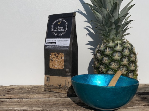 Ferme des Jardins - Granola Bio Choc Coco : Chocolat, Noisette Du Piemont,noix De Coco