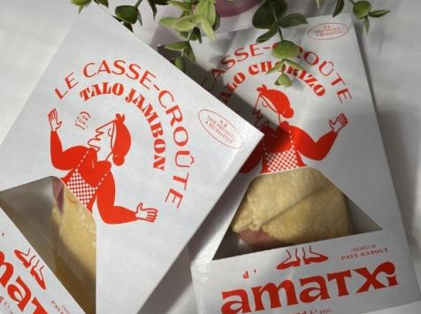 Les Saveurs d'Amatxi - Casse-croûte Jambon Fromage de brebis - 2 pièces - Taloas garnis précuits