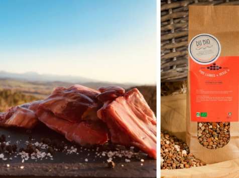 Du bio dans l'assiette - [Précommande] Offre Pâques : Poitrine Agneau Fermier Bio 1kg + 250g de Pois Gesses Offerts