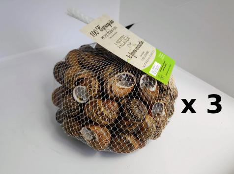 La Ferme Enchantée - 300 Escargots PETITS GRIS Vifs, Jeuné Prêt À Cuisiner - 3x100 Pièces