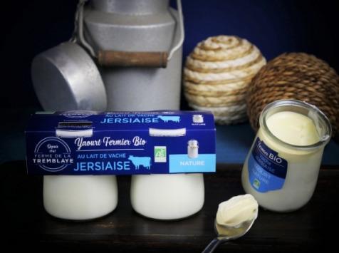 Ferme de La Tremblaye - Yaourt de vache Jersiaise Fermier Bio Nature x2
