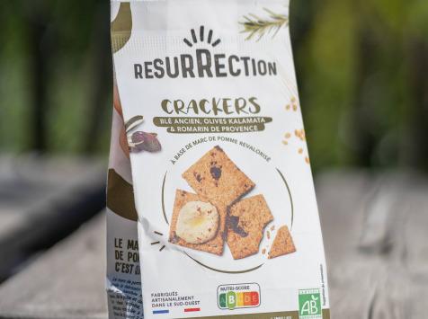 Crackers Résurrection - Crackers Blé Ancien, Olive Kalamata & Romarin De Provence aumarc de pomme revalorisé