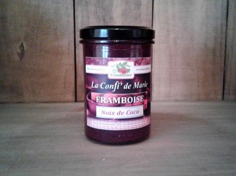 Le Domaine du Framboisier - Confiture allégée en sucre Framboise Noix de Coco 250g