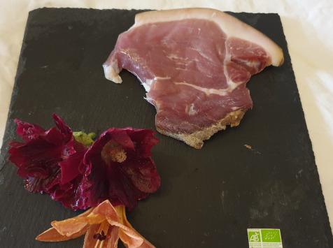 La Ferme du Montet - Jambon Sec - Morceau ou Tranche Epaisse - Porc Noir Gascon - BIO - 200 g