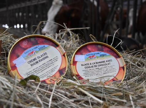 Les Glaces de la Promesse - Crème Glacée Rhum-raisins Et Glace À La Banane Avec Coulis De Chocolat 2x 500 Ml