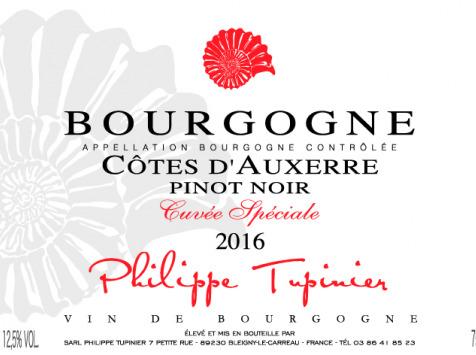 Domaine Tupinier Philippe - Bourgogne Côte D'Auxerre Rouge 2016  - 12 Bouteilles De 75 Cl