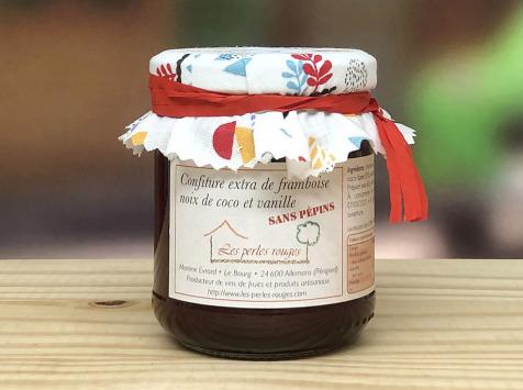 Les Perles Rouges - Confiture Extra De Framboise Noix De Coco À La Vanille Bourbon