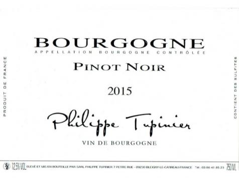 Domaine TUPINIER Philippe - Bourgogne Rouge 2015 - 2 Bouteilles De 75 Cl