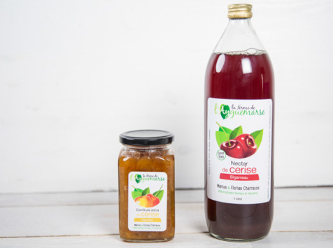 La Ferme de l'Ayguemarse - Panier Petit Déjeuner : confiture et nectar de cerise