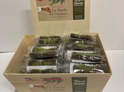 Les Herbes du Roussillon - Bourriche De 100 Mini-bouquets Thym & Laurier Sec