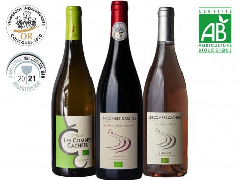 Domaine Les Combes Cachées - Trio Rosé Blanc Rouge Du Languedoc Bio Coffret Découverte  3x 75cl