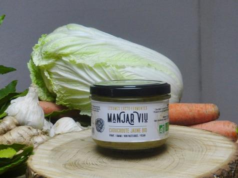 Manjar Viu : Légumes lacto fermentés - Choucroute Jaune Curcuma, Poivre - Lacto-fermentées BIO - 220g