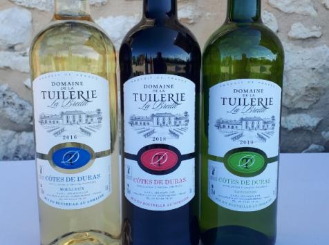 Domaine de la Tuilerie - Panachage  AOP Côtes De Duras 1 Blanc Sec+1 Blanc Moelleux+1 Rouge 2018 - Coffret de 3 X 75 cl