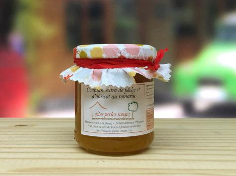Les Perles Rouges - Confiture Extra De Pêches Abricot Et Romarin