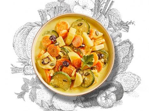 La Brouette - Pour 1 Pers, Curry Doux De Légumes, Graines De Courge Et Cranberries