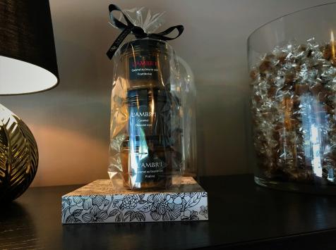 L'AMBR'1 Caramels et Gourmandises - Crèmes De Caramel Au Beurre Salé Praliné, Chocolat Noir, Framboise - 3 Pots De 130g