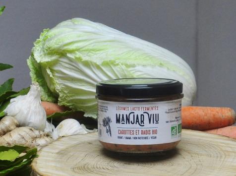 Manjar Viu : Légumes lacto fermentés - Carottes, Radis et Cumin - Lacto-fermentées BIO - 220g